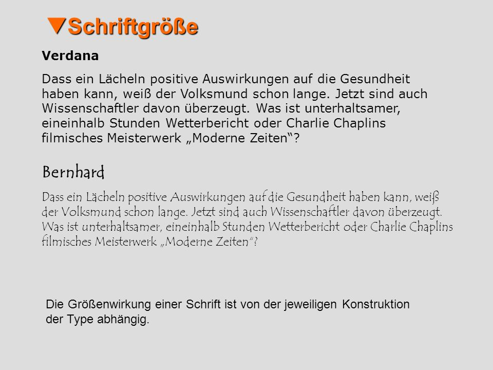 Schriftgröße Bernhard Verdana