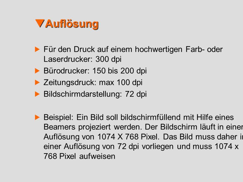 Auflösung Für den Druck auf einem hochwertigen Farb- oder Laserdrucker: 300 dpi. Bürodrucker: 150 bis 200 dpi.