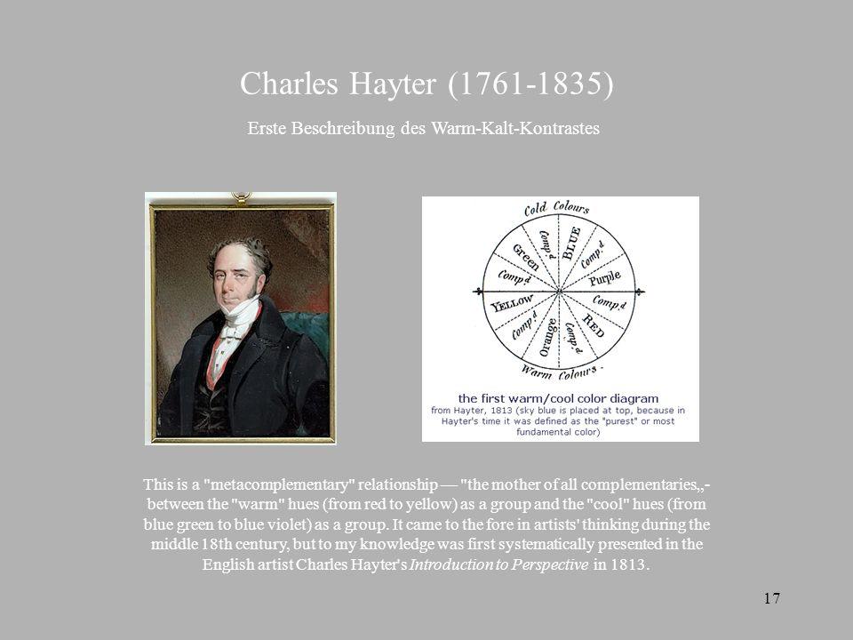 Charles Hayter (1761-1835) Erste Beschreibung des Warm-Kalt-Kontrastes