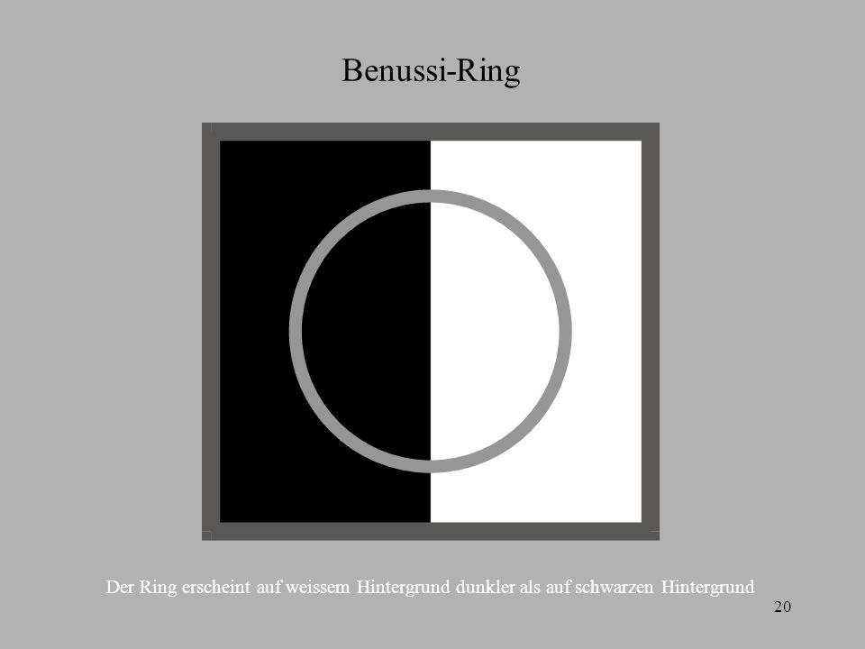 Benussi-Ring Der Ring erscheint auf weissem Hintergrund dunkler als auf schwarzen Hintergrund