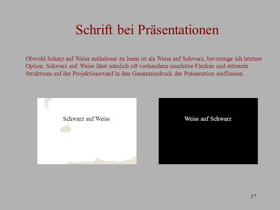 Schrift bei Präsentationen