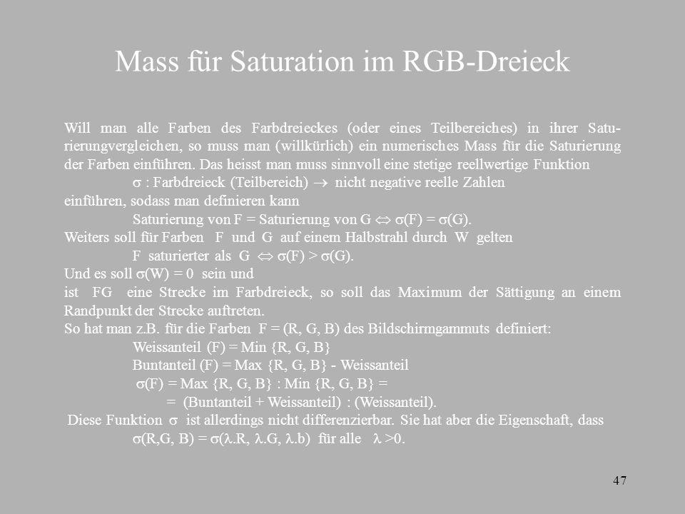 Mass für Saturation im RGB-Dreieck