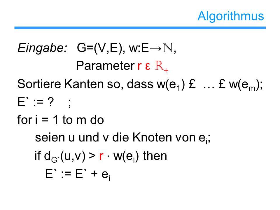 Algorithmus Eingabe: G=(V,E), w:E→N, Parameter r ε R+ Sortiere Kanten so, dass w(e1) £ … £ w(em);