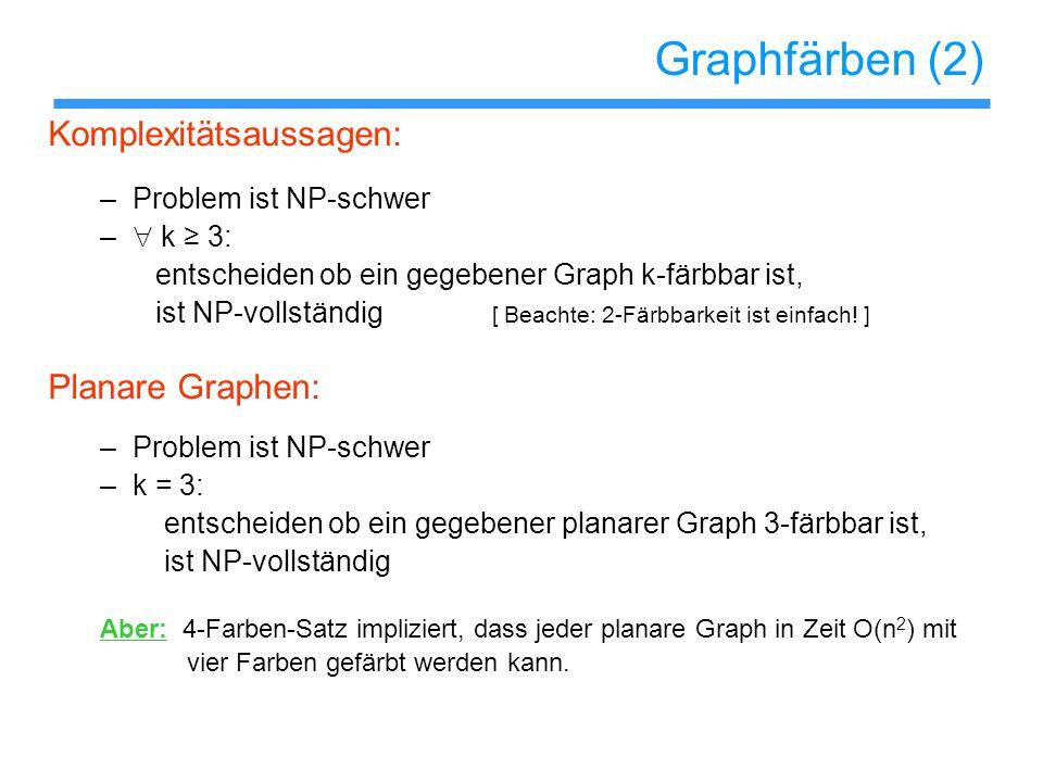 Graphfärben (2) Komplexitätsaussagen: Planare Graphen: