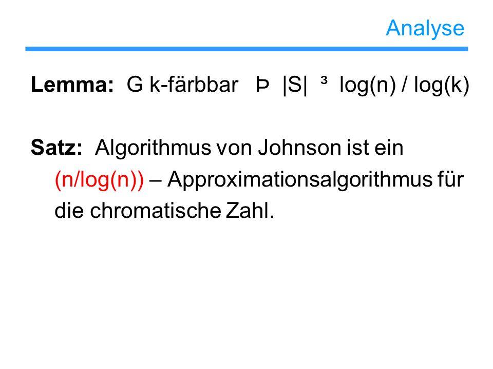 Analyse Lemma: G k-färbbar Þ |S| ³ log(n) / log(k) Satz: Algorithmus von Johnson ist ein. (n/log(n)) – Approximationsalgorithmus für.