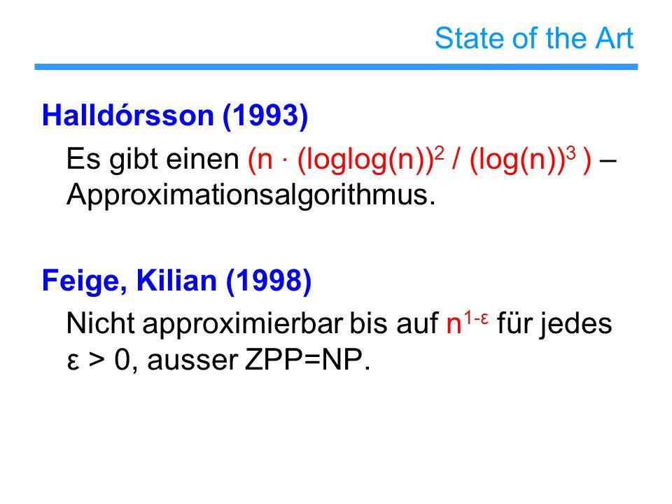 State of the Art Halldórsson (1993) Es gibt einen (n · (loglog(n))2 / (log(n))3 ) – Approximationsalgorithmus.
