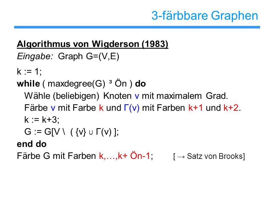 3-färbbare Graphen Algorithmus von Wigderson (1983)