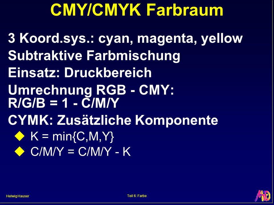 CMY/CMYK Farbraum 3 Koord.sys.: cyan, magenta, yellow