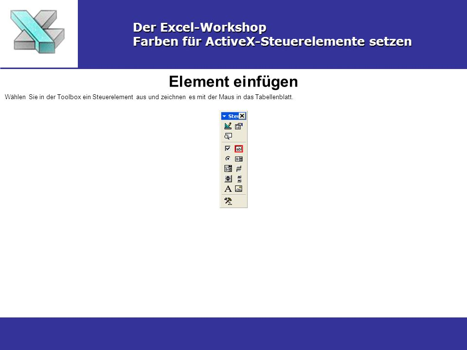 Element einfügen Der Excel-Workshop