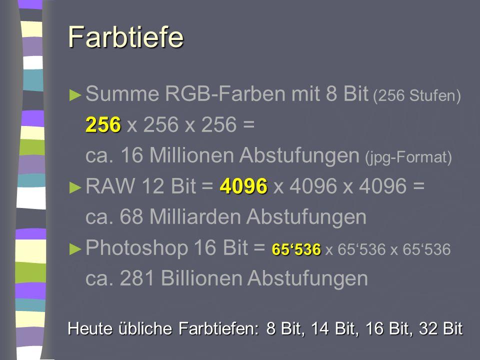 Farbtiefe Summe RGB-Farben mit 8 Bit (256 Stufen) 256 x 256 x 256 =