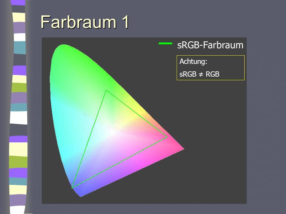 Farbraum 1 sRGB-Farbraum Achtung: sRGB ≠ RGB