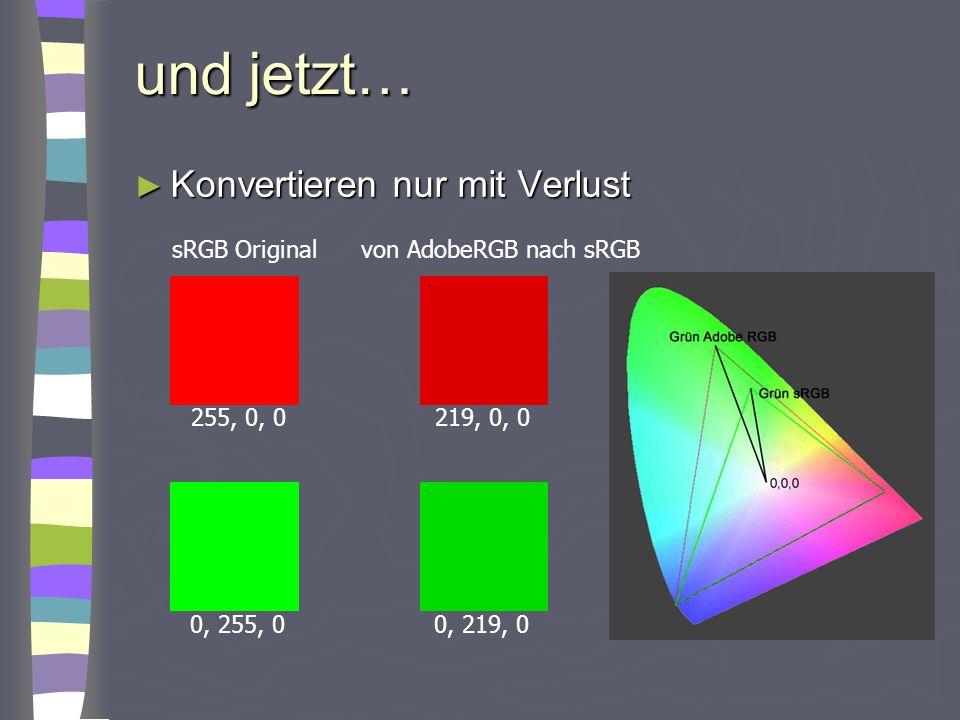 und jetzt… Konvertieren nur mit Verlust sRGB Original
