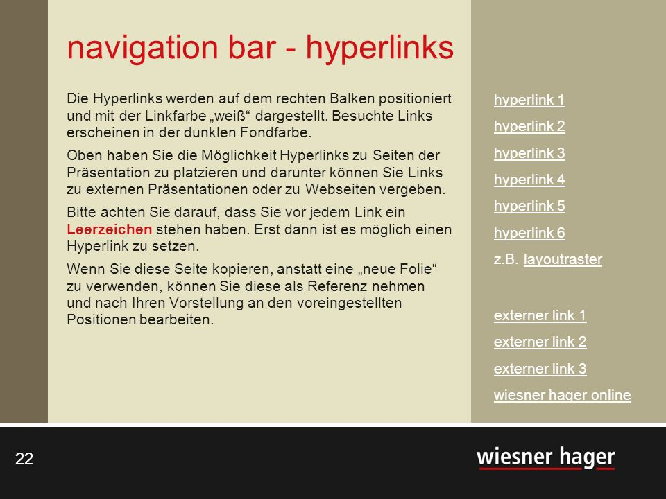 navigation bar - hyperlinks