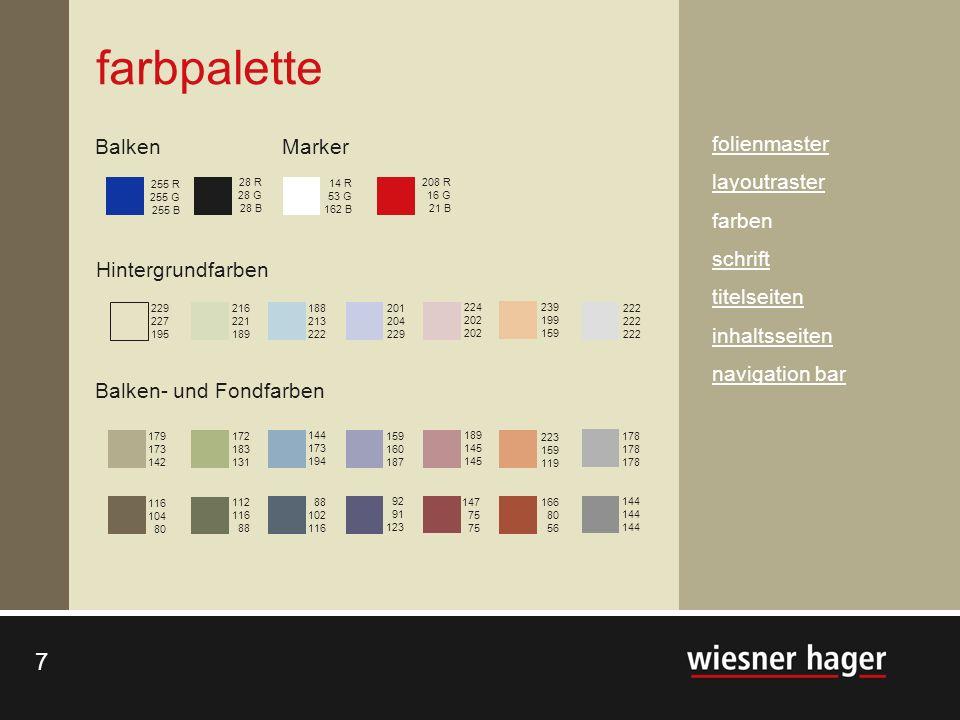 farbpalette Balken Marker folienmaster layoutraster farben schrift