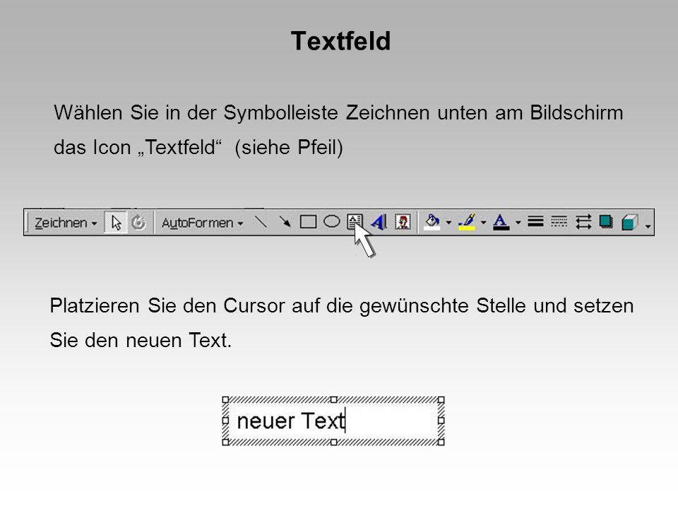 Textfeld Wählen Sie in der Symbolleiste Zeichnen unten am Bildschirm