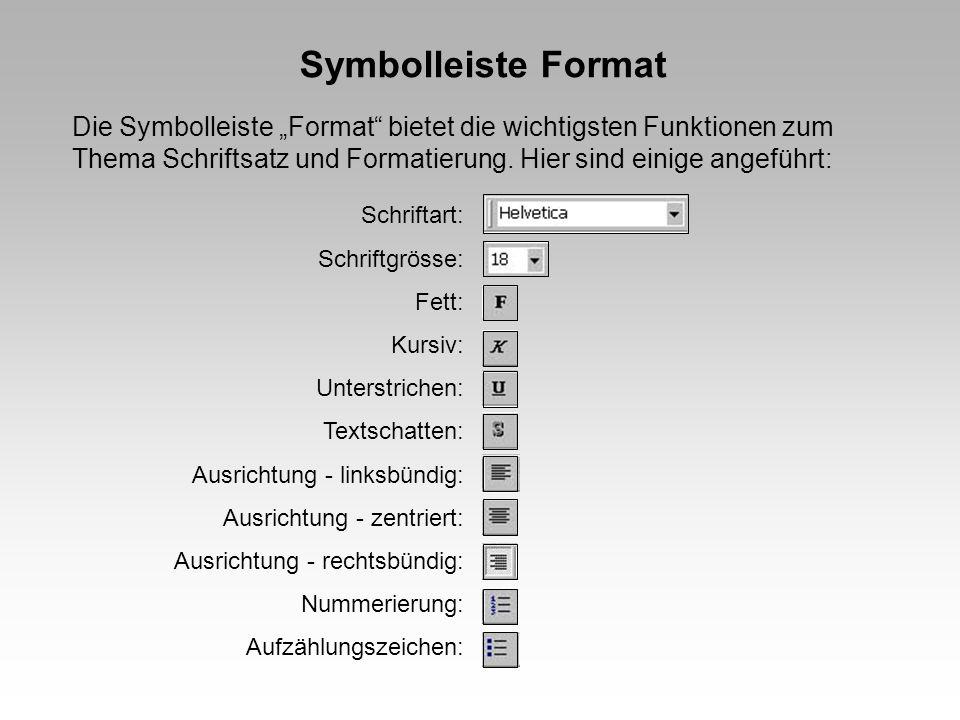 """Symbolleiste Format Die Symbolleiste """"Format bietet die wichtigsten Funktionen zum Thema Schriftsatz und Formatierung. Hier sind einige angeführt:"""