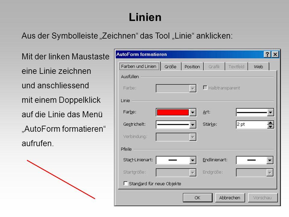 """Linien Aus der Symbolleiste """"Zeichnen das Tool """"Linie anklicken:"""