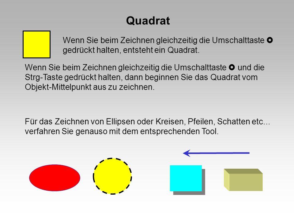Quadrat Wenn Sie beim Zeichnen gleichzeitig die Umschalttaste  gedrückt halten, entsteht ein Quadrat.