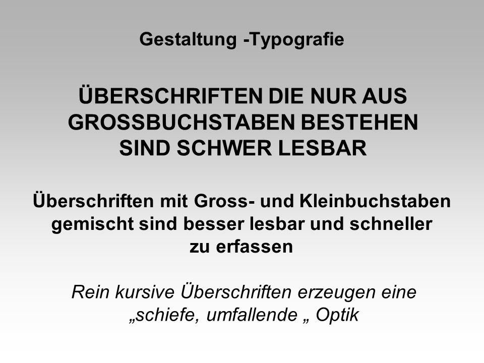 Gestaltung -Typografie