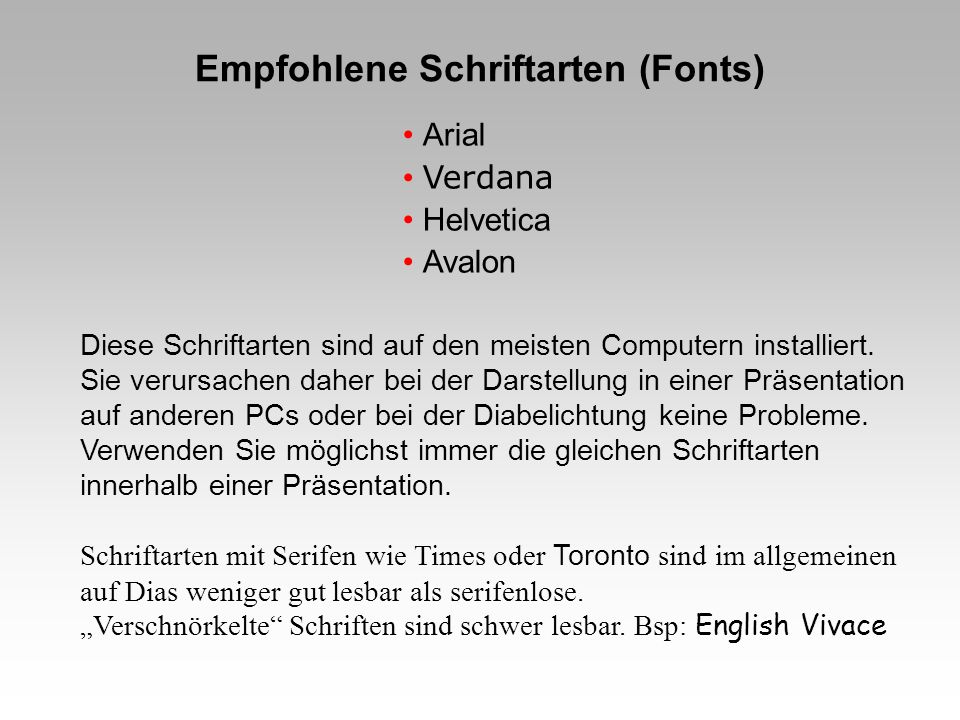 Empfohlene Schriftarten (Fonts)