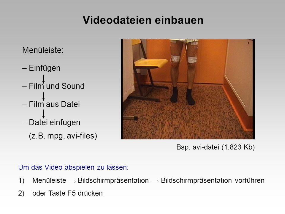 Videodateien einbauen