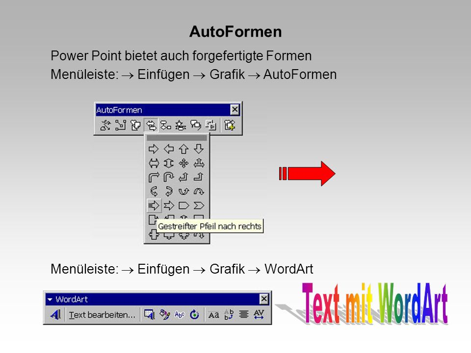 Text mit WordArt AutoFormen