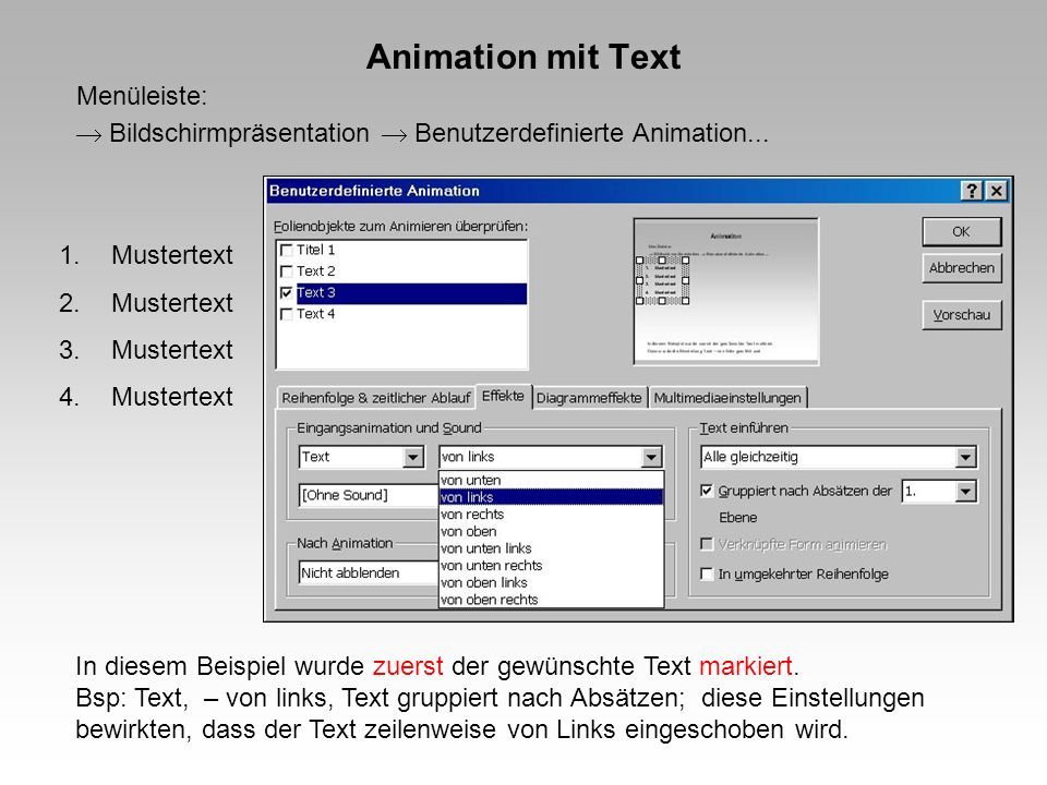 Animation mit Text Menüleiste:  Bildschirmpräsentation  Benutzerdefinierte Animation... Mustertext.