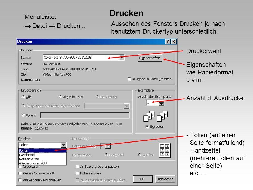 Drucken Menüleiste:  Datei  Drucken...