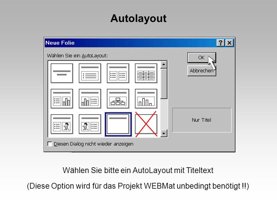 Autolayout Wählen Sie bitte ein AutoLayout mit Titeltext