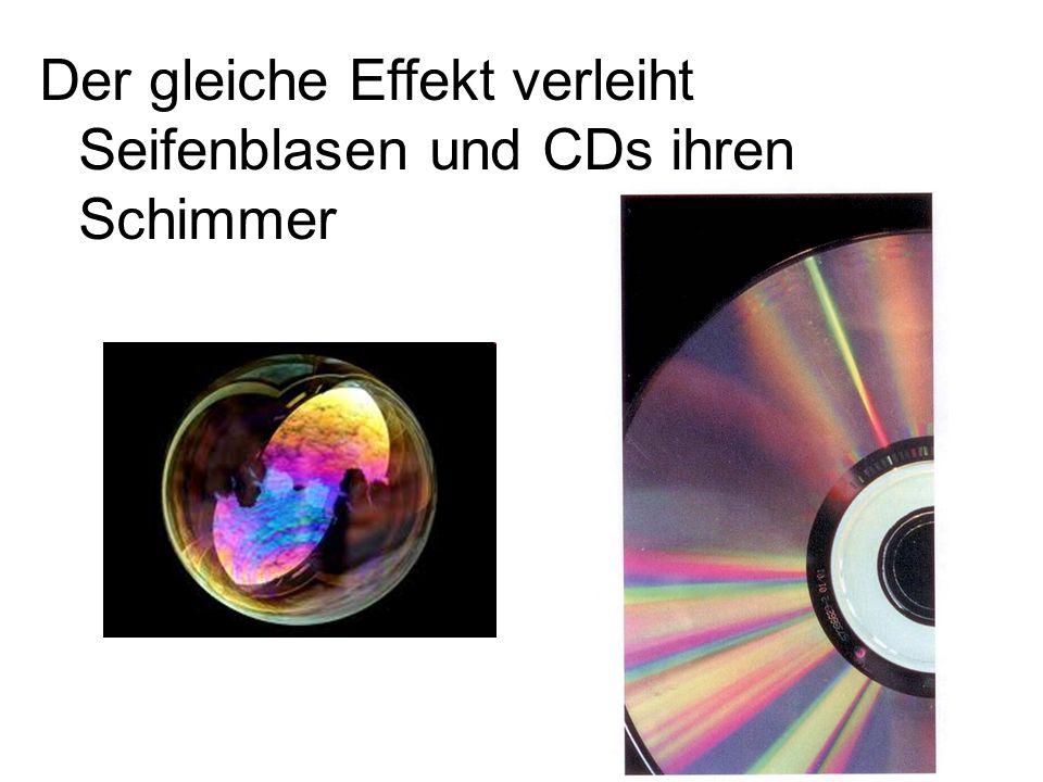 Der gleiche Effekt verleiht Seifenblasen und CDs ihren Schimmer