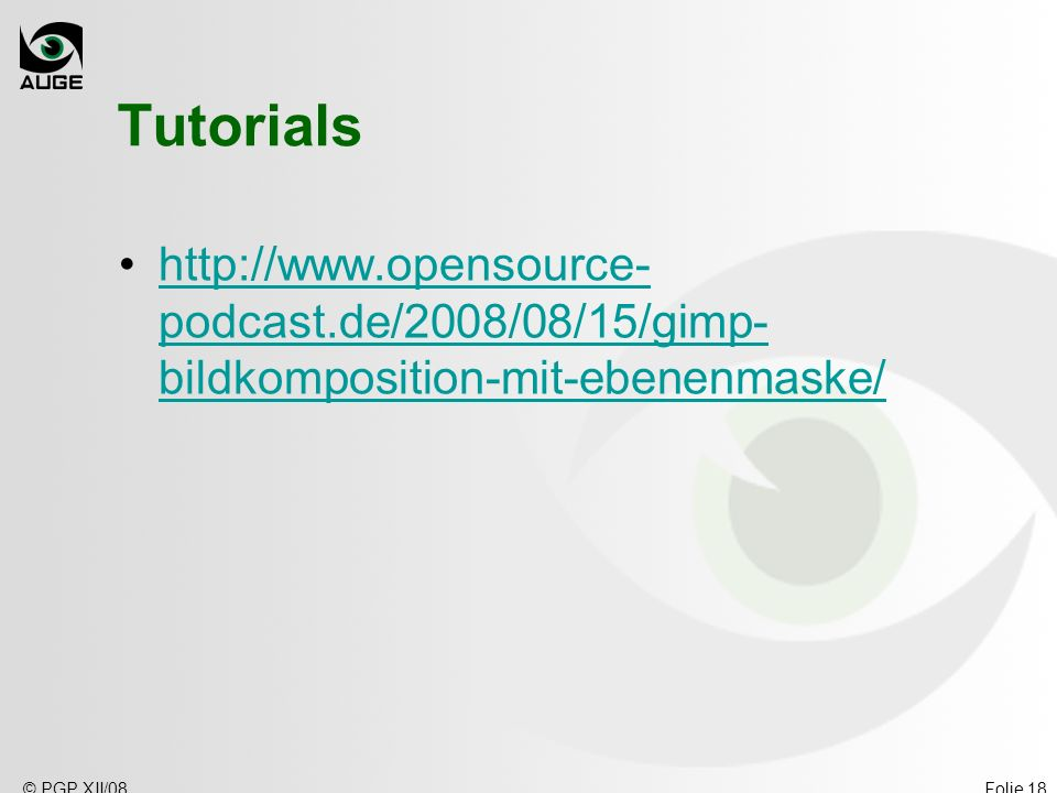 Tutorials   © PGP XII/08.