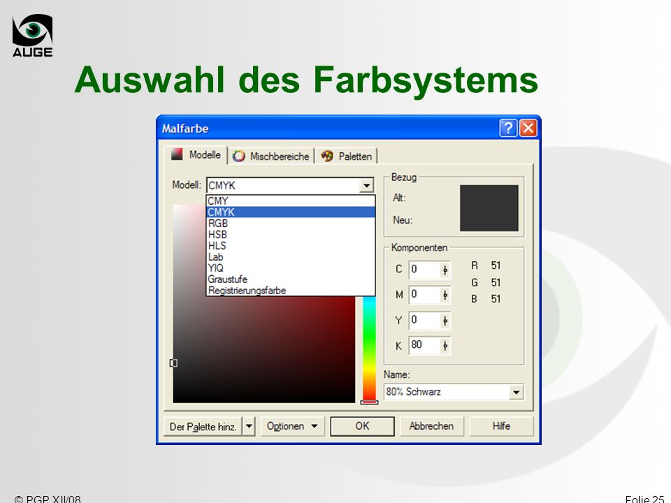 Auswahl des Farbsystems