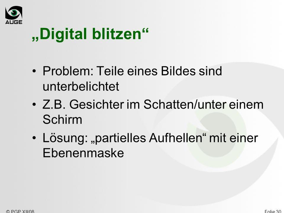 """""""Digital blitzen Problem: Teile eines Bildes sind unterbelichtet"""