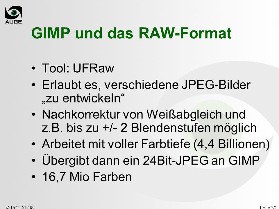 GIMP und das RAW-Format