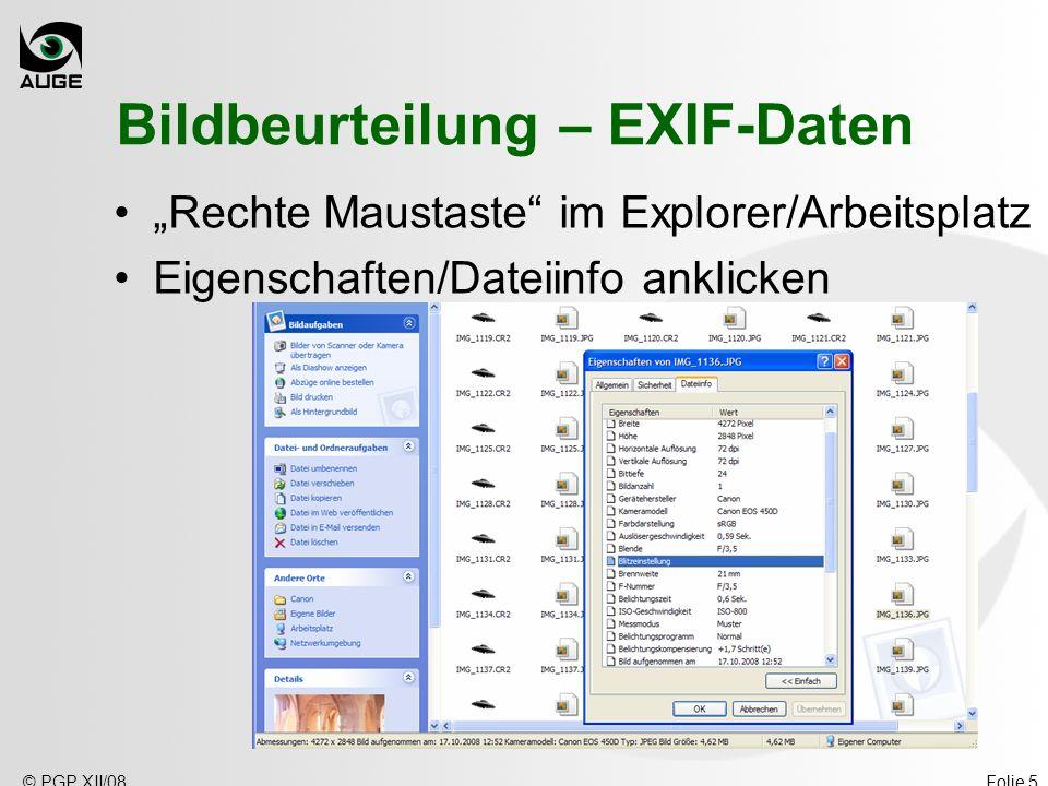 Bildbeurteilung – EXIF-Daten