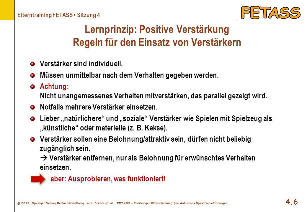 Lernprinzip: Positive Verstärkung Regeln für den Einsatz von Verstärkern