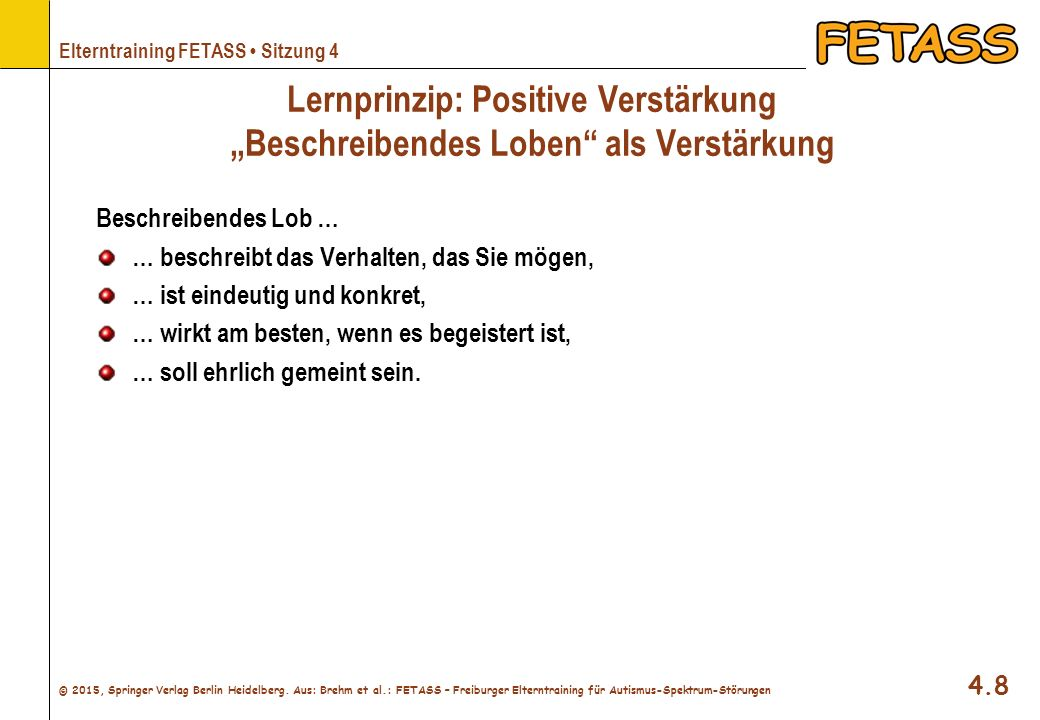 """Lernprinzip: Positive Verstärkung """"Beschreibendes Loben als Verstärkung"""