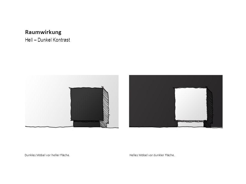 Raumwirkung Hell – Dunkel Kontrast Dunkles Möbel vor heller Fläche.