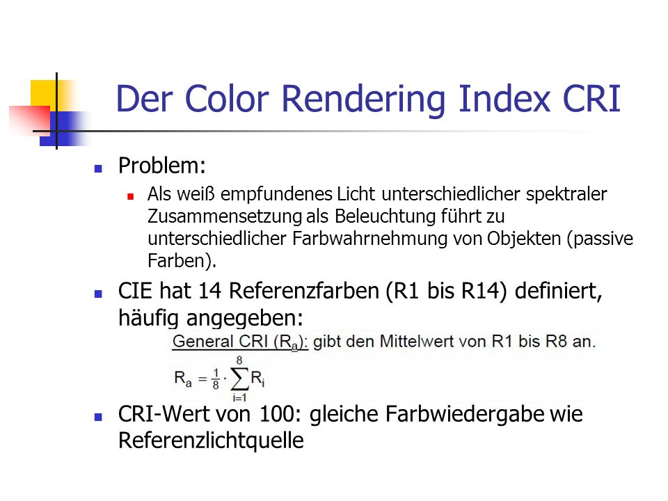 Der Color Rendering Index CRI