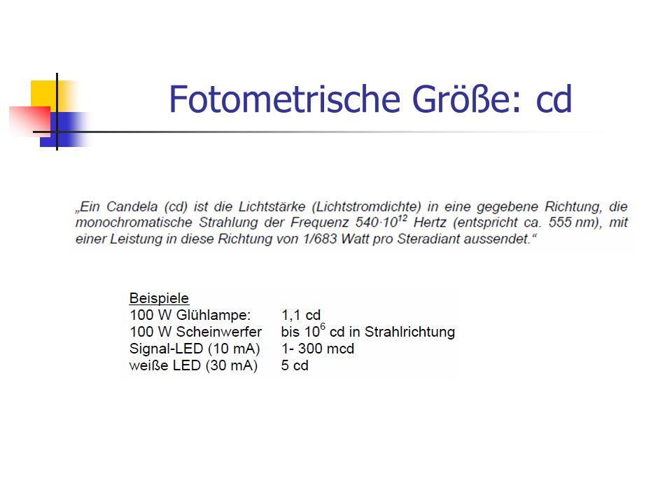 Fotometrische Größe: cd
