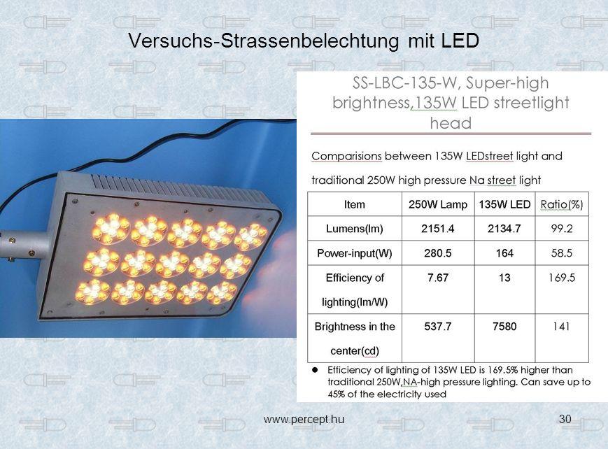 Versuchs-Strassenbelechtung mit LED