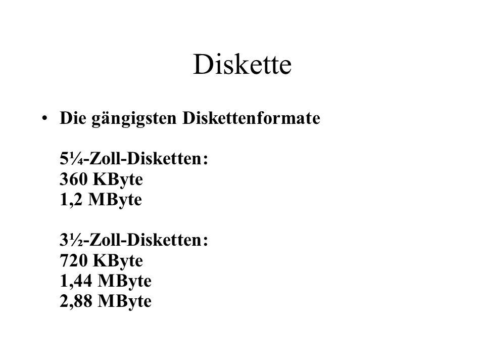 Diskette Die gängigsten Diskettenformate 5¼-Zoll-Disketten: 360 KByte 1,2 MByte 3½-Zoll-Disketten: 720 KByte 1,44 MByte 2,88 MByte.