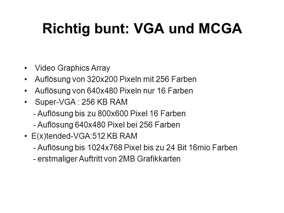 Richtig bunt: VGA und MCGA