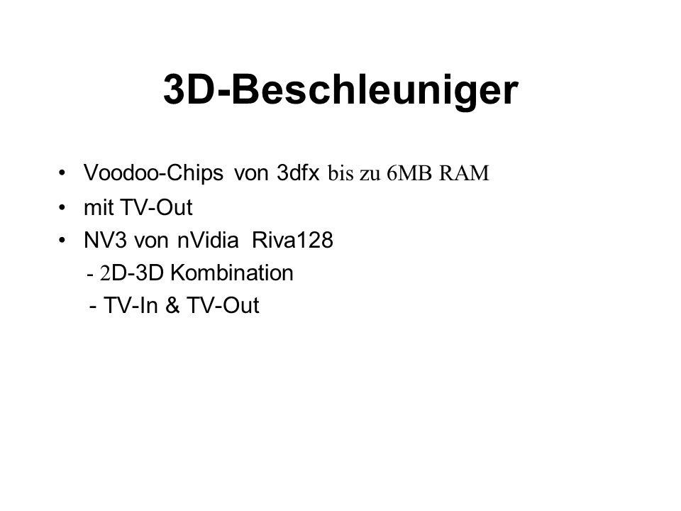 3D-Beschleuniger Voodoo-Chips von 3dfx bis zu 6MB RAM mit TV-Out