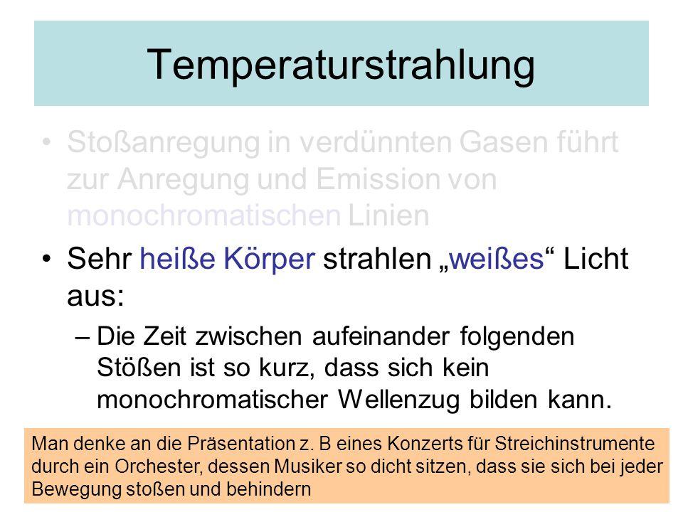 Temperaturstrahlung Stoßanregung in verdünnten Gasen führt zur Anregung und Emission von monochromatischen Linien.