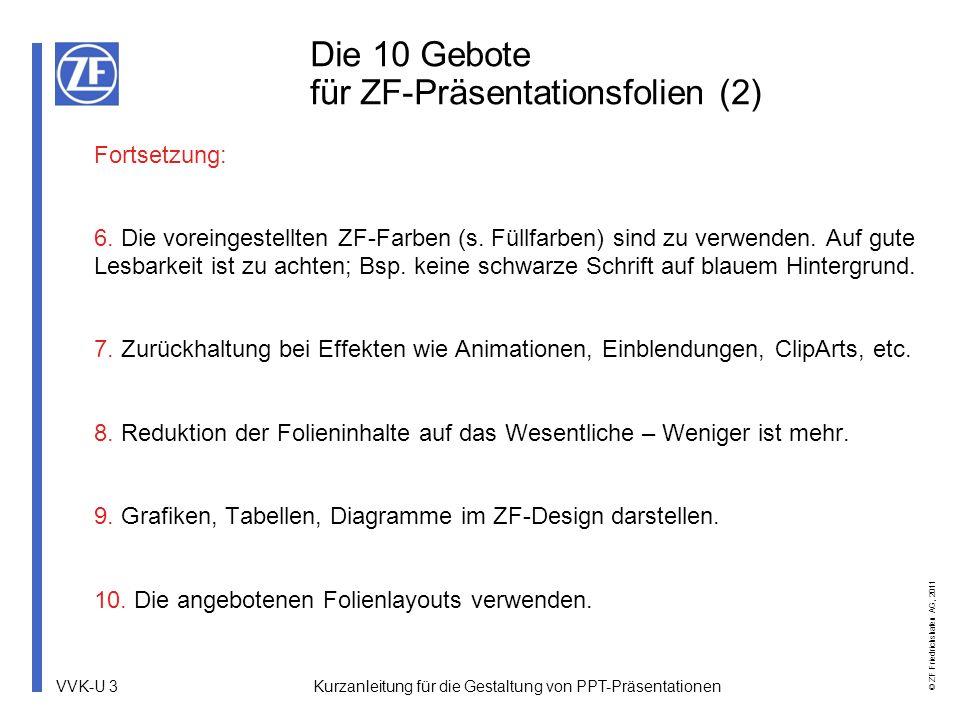 Die 10 Gebote für ZF-Präsentationsfolien (2)