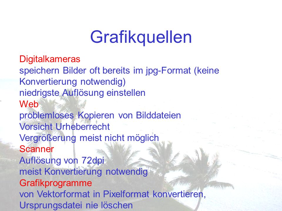 Grafikquellen Digitalkameras