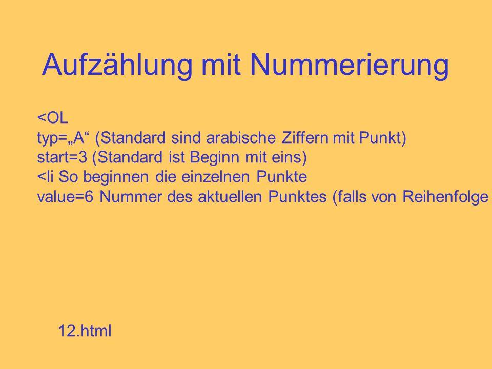 Aufzählung mit Nummerierung