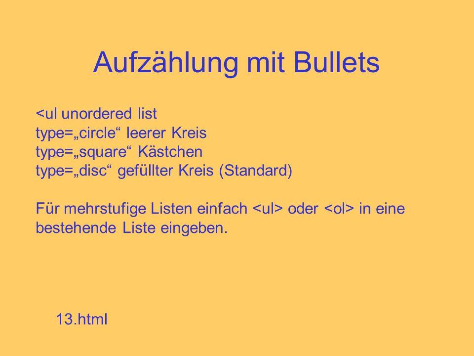 Aufzählung mit Bullets