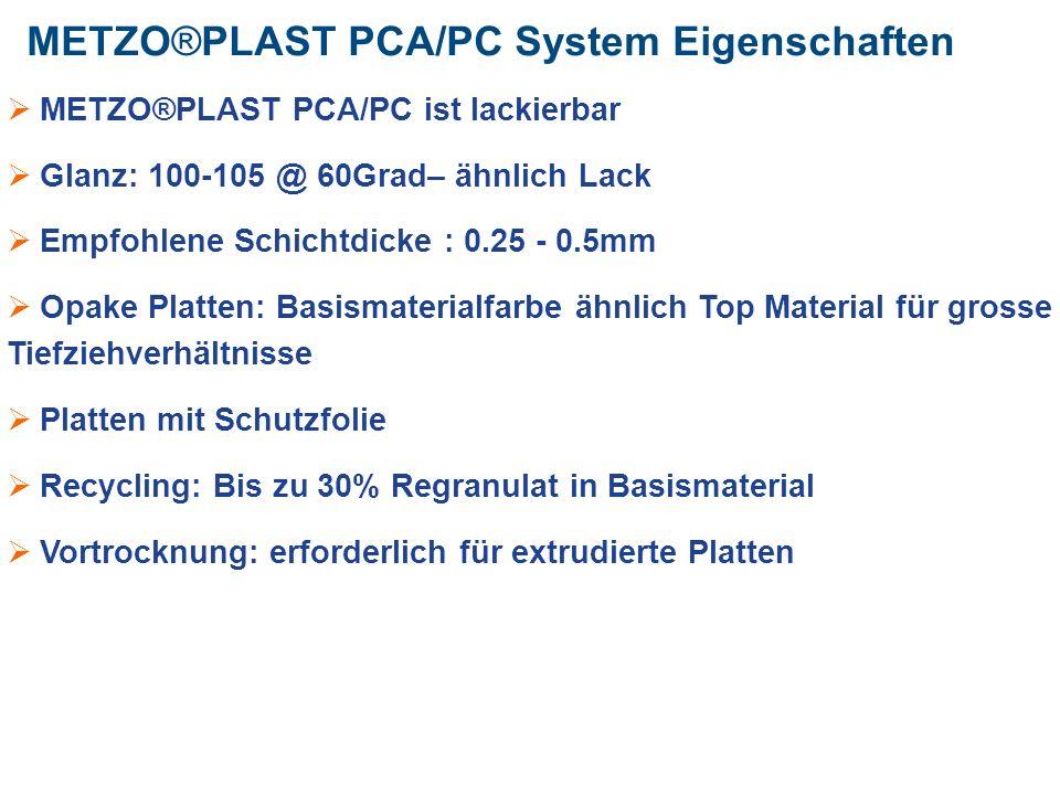 METZO®PLAST PCA/PC System Eigenschaften